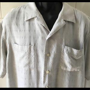 Hobie Gray Soft Textured Button Up SS Shirt M